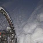 Die ersten Spuren im Schnee, am morgen das Ziel erreicht.